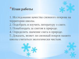 План работы 1. Исследование качества снежного покрова на территории школы. 2.