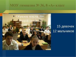 МОУ гимназия № 36, 8 «А» класс 15 девочек 12 мальчиков
