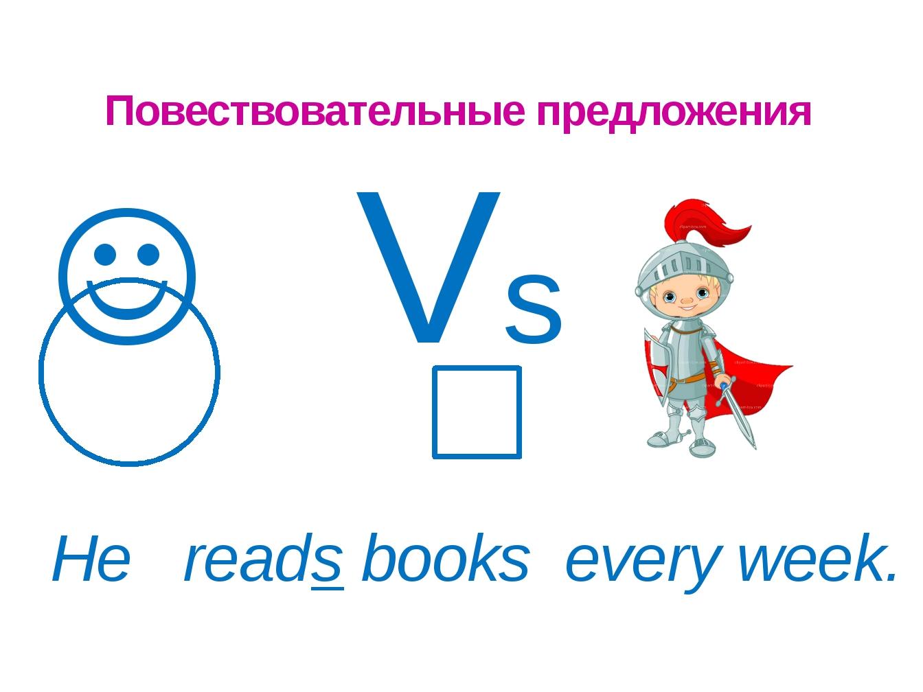 Повествовательные предложения  Vs He reads books every week.