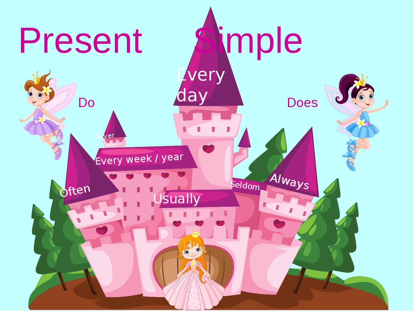 Present Simple Every day Every week / year Usually Often Always Never Seldom...