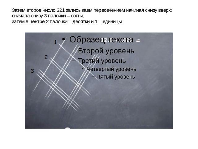 Затем второе число 321 записываем пересечением начиная снизу вверх: сначала с...
