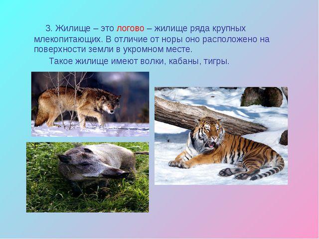 3. Жилище – это логово – жилище ряда крупных млекопитающих. В отличие от нор...