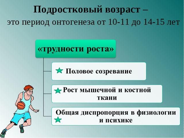 Подростковый возраст – это период онтогенеза от 10-11 до 14-15 лет