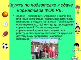 Кружки по подготовке к сдаче нормативов ФОК РБ. Задача - подготовить учащихся