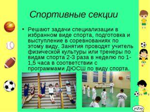 Спортивные секции Решают задачи специализации в избранном виде спорта, подгот