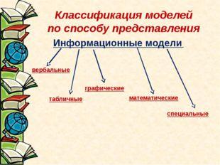 Классификация моделей по способу представления вербальные табличные графическ