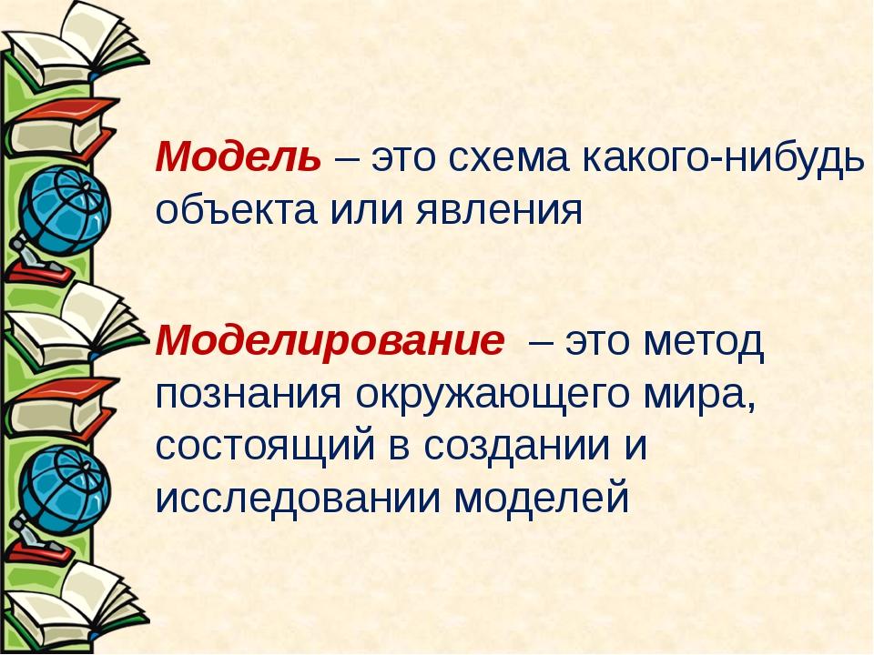 Модель – это схема какого-нибудь объекта или явления Моделирование – это мето...