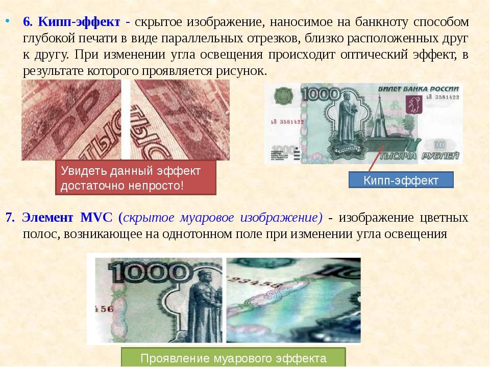 6. Кипп-эффект - скрытое изображение, наносимое на банкноту способом глубокой...
