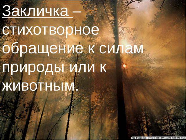 Закличка – стихотворное обращение к силам природы или к животным.