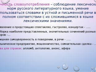 точность словоупотребления – соблюдение лексических норм русского литературно