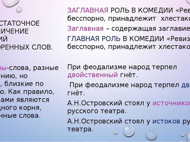 3. НЕДОСТАТОЧНОЕ РАЗГРАНИЧЕНИЕ ЗНАЧЕНИЙ ОДНОКОРЕННЫХ СЛОВ. Паронимы-слова, р...