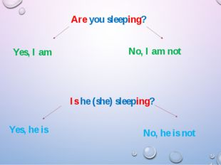 Are you sleeping? Yes, I am Is he (she) sleeping? No, I am not Yes, he is No,