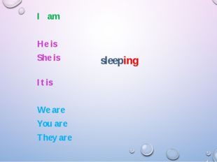 sleeping I am He is She is It is We are You are They are