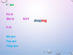 sleeping I am He is She is NOT It is We are You are They are