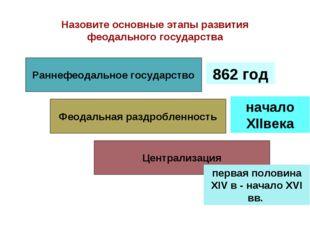 Назовите основные этапы развития феодального государства Раннефеодальное гос