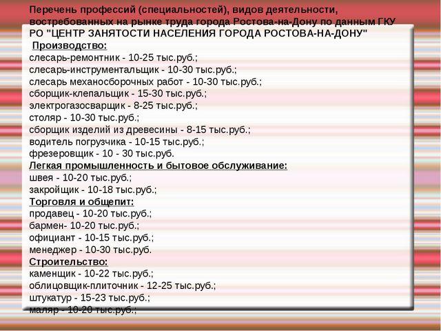 Перечень профессий (специальностей), видов деятельности, востребованных на ры...