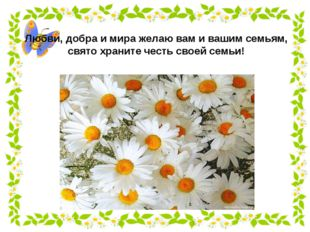 Любви, добра и мира желаю вам и вашим семьям, свято храните честь своей семьи!