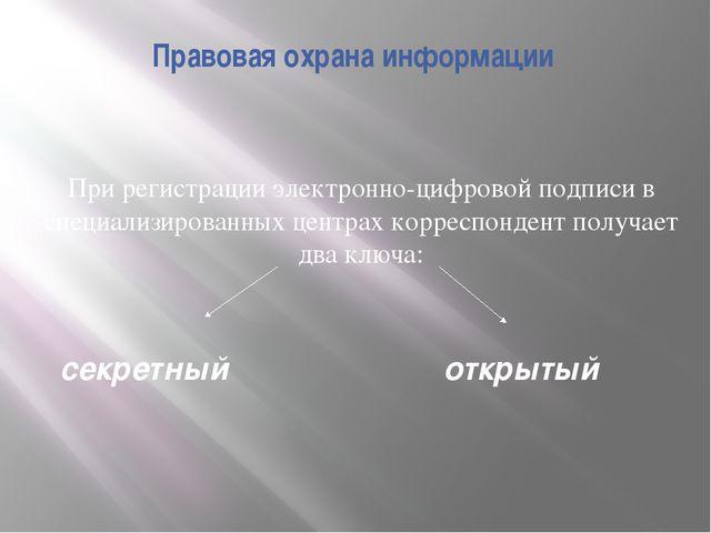 Правовая охрана информации При регистрации электронно-цифровой подписи в спец...