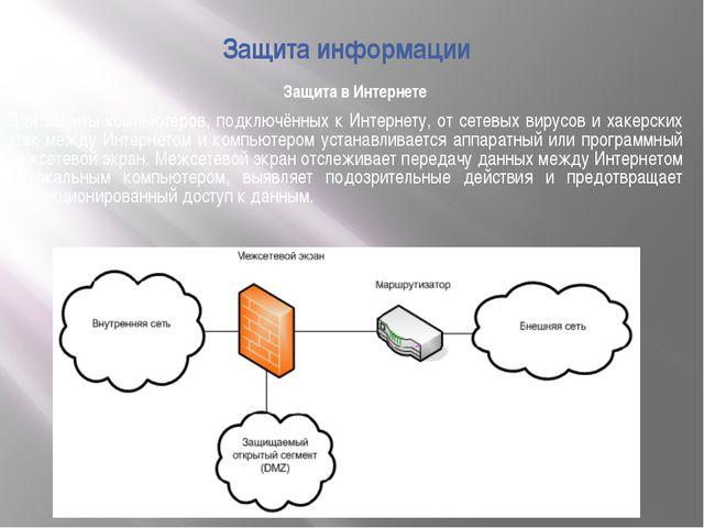 Защита в Интернете Защита информации Для защиты компьютеров, подключённых к И...