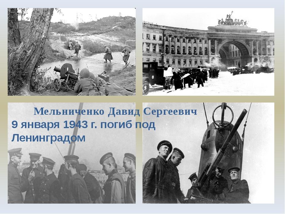 Мельниченко Давид Сергеевич 9 января 1943 г. погиб под Ленинградом