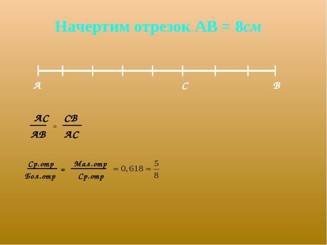 Начертим отрезок АВ = 8см А В С АС = СВ АВ АС Ср.отр Мал.отр Бол.отр Ср.отр =