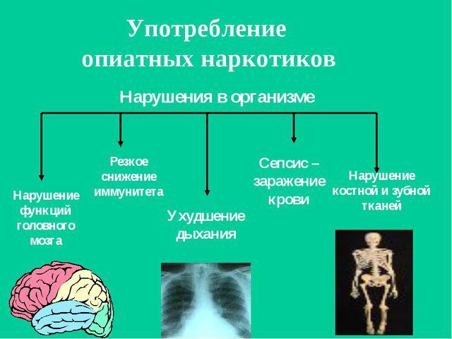 Употребление опиатных наркотиков Нарушение функций головного мозга Нарушение...