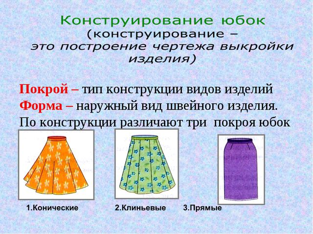 Покрой – тип конструкции видов изделий Форма – наружный вид швейного изделия....