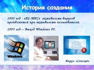 1993 год - «PS-MPC» активность вирусов проявляется при активности пользовател