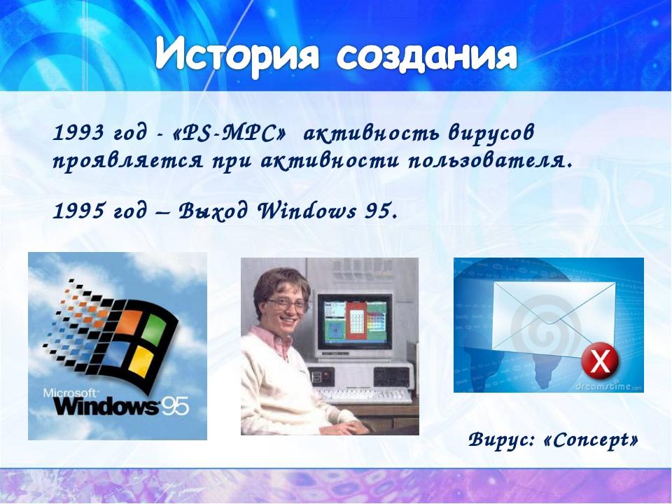 1993 год - «PS-MPC» активность вирусов проявляется при активности пользовател...