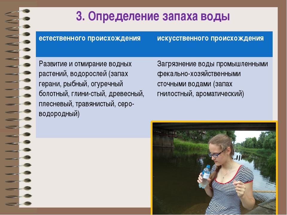 3. Определение запаха воды естественного происхождения искусственного происхо...
