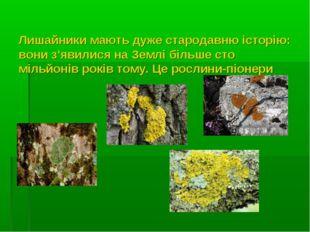 Лишайники мають дуже стародавню історію: вони з'явилися на Землі більше сто м