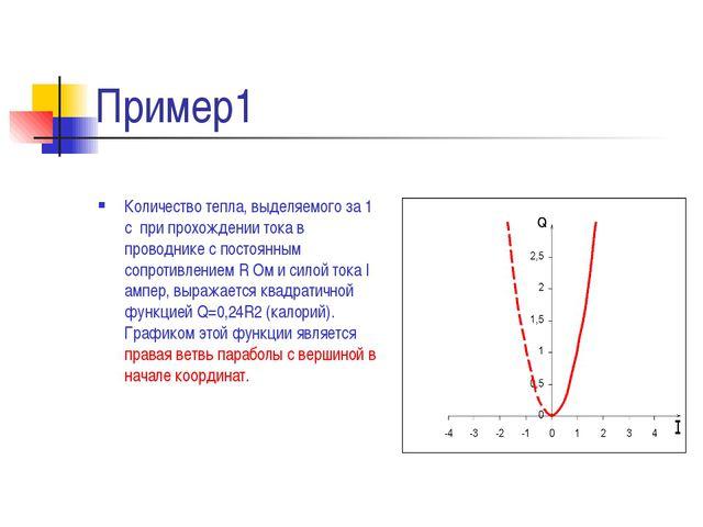 Пример1 Количество тепла, выделяемого за 1 с при прохождении тока в проводник...