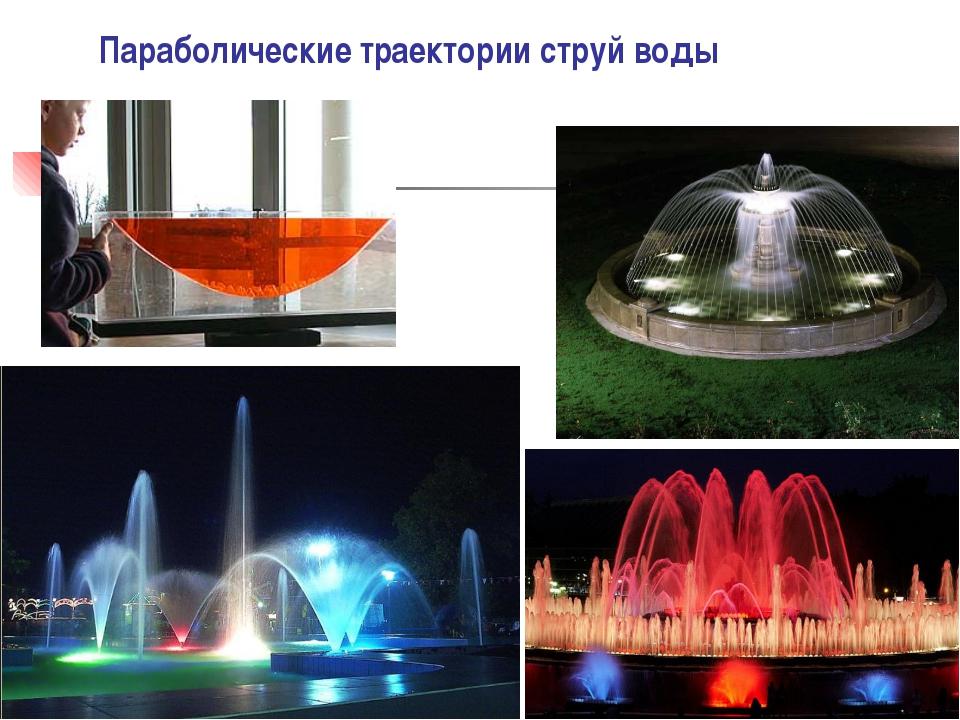Параболические траектории струй воды