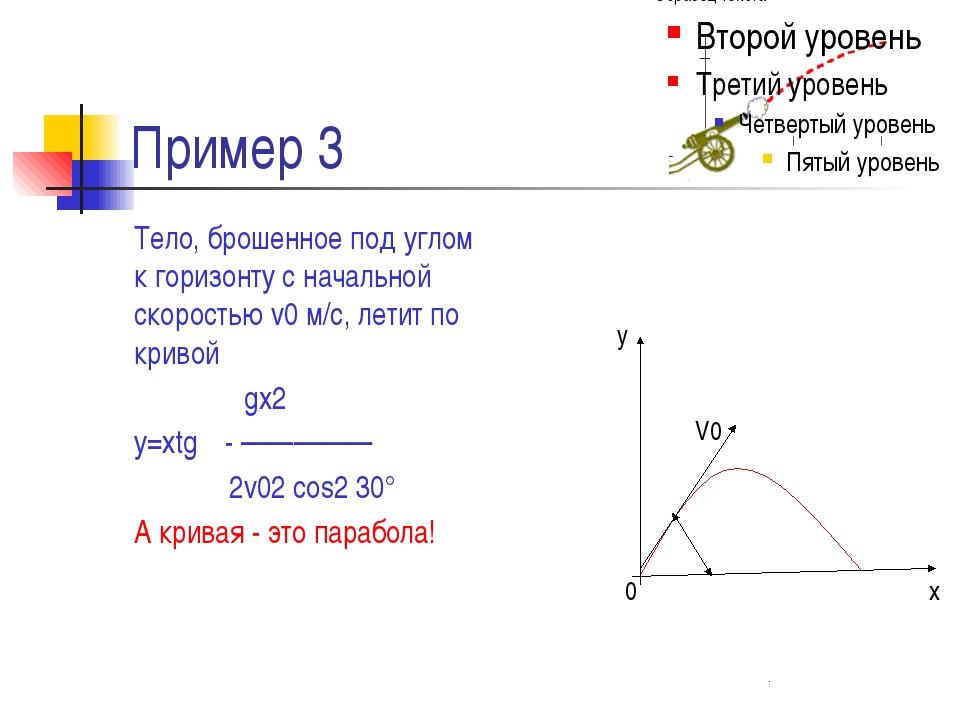 Пример 3 Тело, брошенное под углом α к горизонту с начальной скоростью v0 м/с...