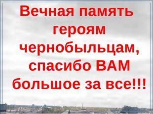 Вечная память героям чернобыльцам, спасибо ВАМ большое за все!!!