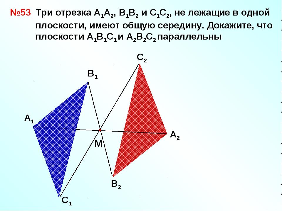 А1 В1 С1 А2 С2 В2 №53 М Три отрезка А1А2, В1В2 и С1С2, не лежащие в одной пло...