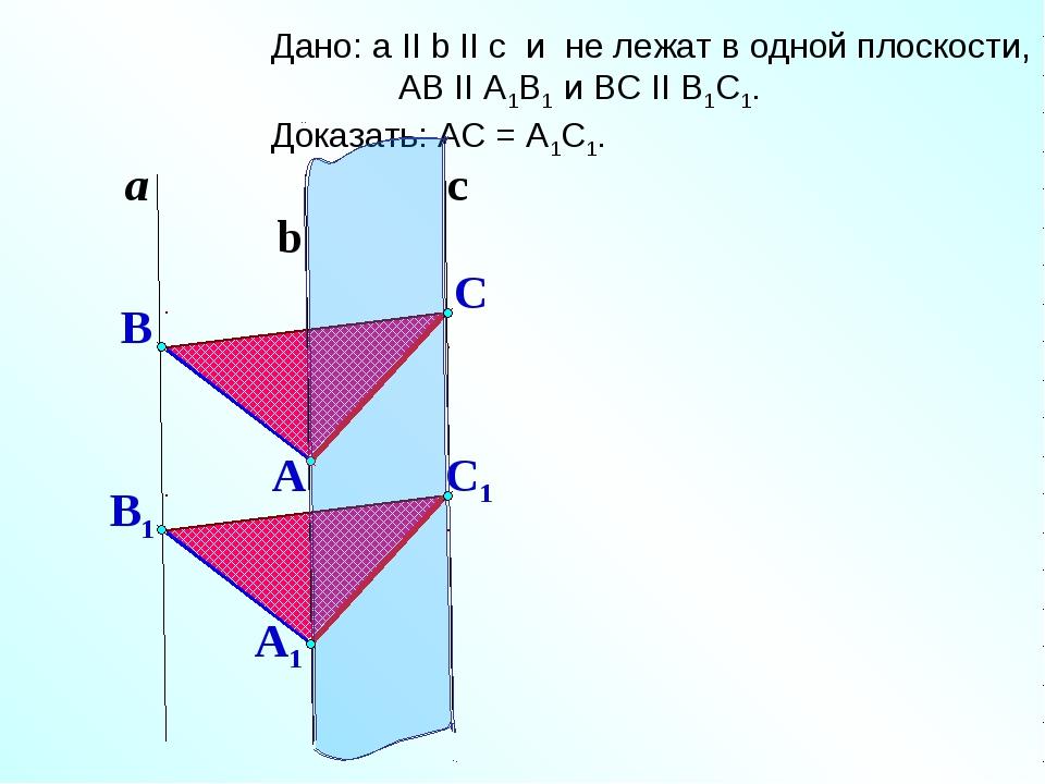 C1 a b Дано: a II b II c и не лежат в одной плоскости, АВ II А1В1 и ВС II B1C...
