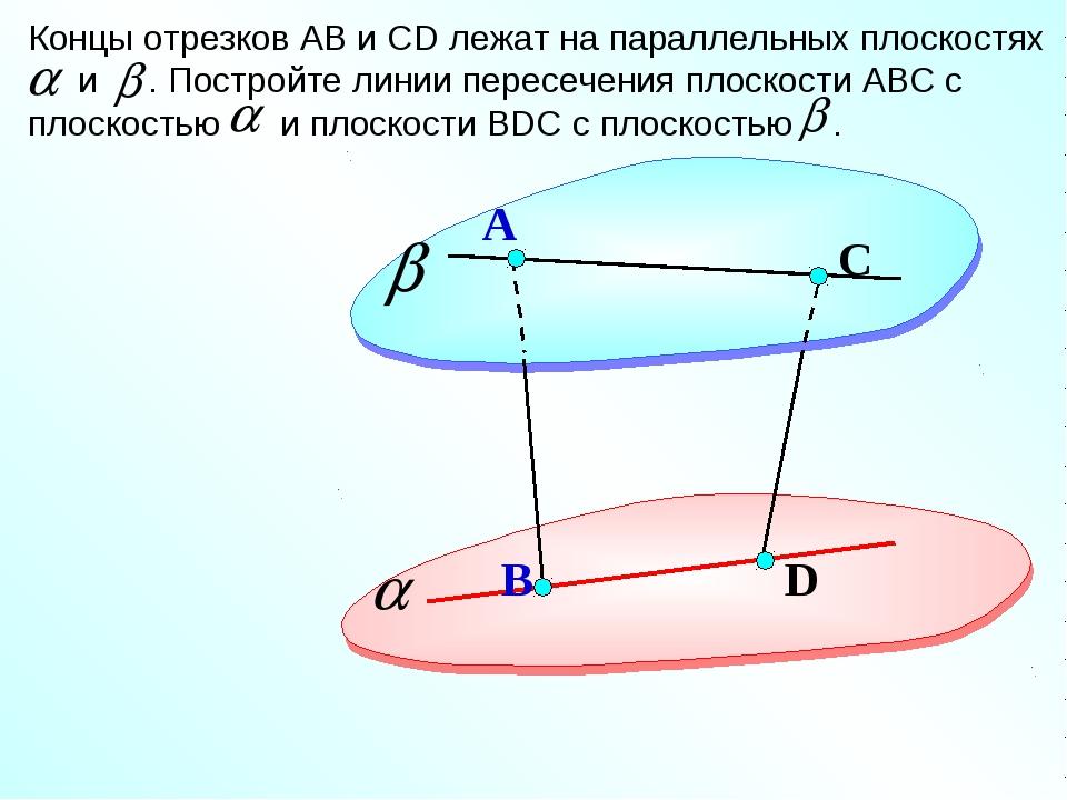 D А Концы отрезков АВ и СD лежат на параллельных плоскостях и . Постройте лин...