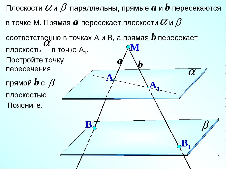 Плоскости и параллельны, прямые a и b пересекаются в точке М. Прямая a пересе...