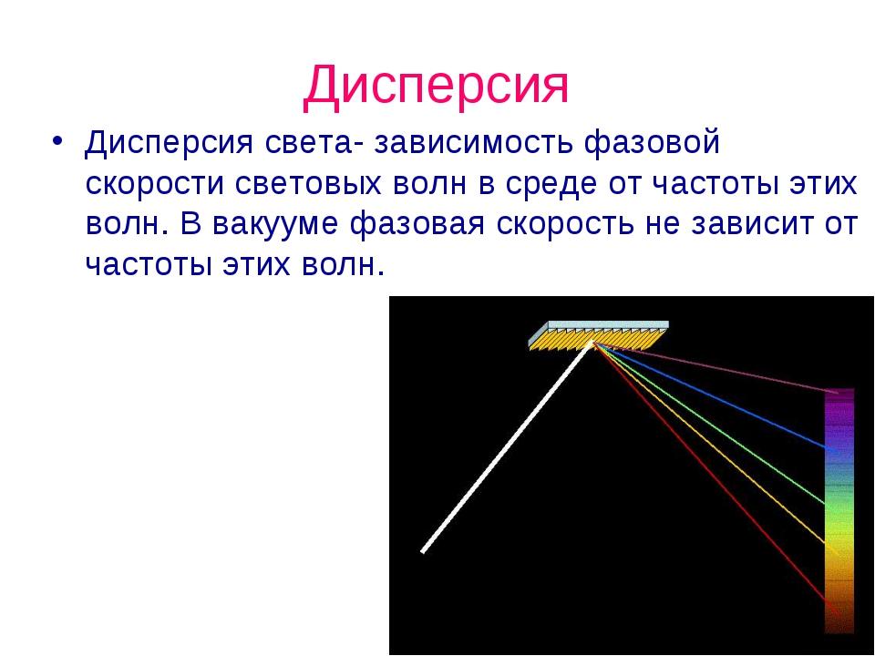 Дисперсия Дисперсия света- зависимость фазовой скорости световых волн в среде...