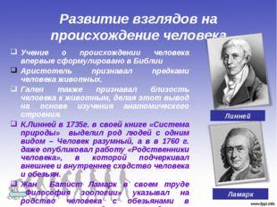 Развитие взглядов на происхождение человека Учение о происхождении человека в