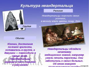 Культура неандертальца Орудия Юноши, достигшие половой зрелости, оставались в