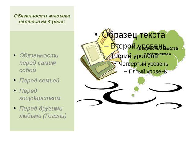 Обязанности человека делятся на 4 рода: Обязанности перед самим собой Перед с...