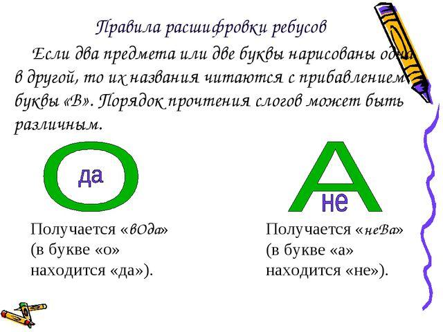 Если два предмета или две буквы нарисованы одна в другой, то их названия чита...