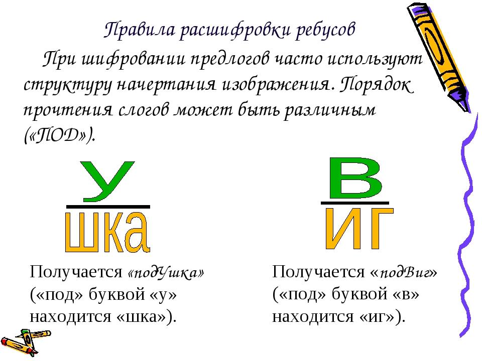 При шифровании предлогов часто используют структуру начертания изображения. П...