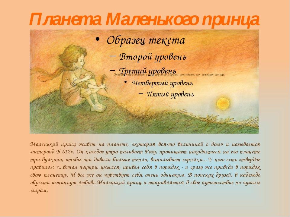 Планета Маленького принца Маленький принц живет на планете, «которая вся-то в...
