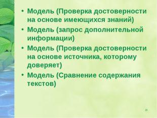 * Модель (Проверка достоверности на основе имеющихся знаний) Модель (запрос д