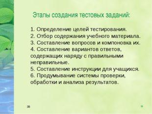* Этапы создания тестовых заданий: 1. Определение целей тестирования. 2. Отбо