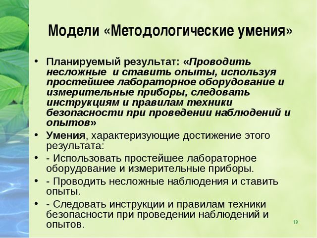 * Модели «Методологические умения» Планируемый результат: «Проводить несложны...