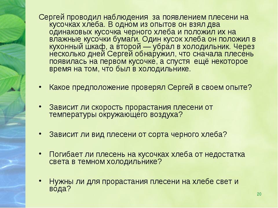 * Сергей проводил наблюдения за появлением плесени на кусочках хлеба. В одном...